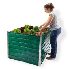 DEMA Kovový vyvýšený záhon Rosendaal 99x99x80 cm zelený