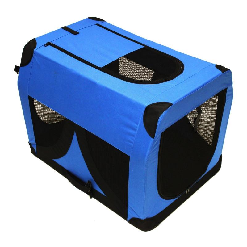 Skladací prepravný box pre psov a mačky XL 81x58x58 cm modrý DEMA