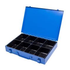 Sortimentový kufrík kovový, 8 priehradok