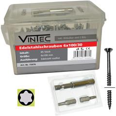 Vintec Nerezové skrutky 6x100 T30, 85 ks