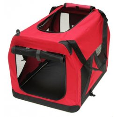 Skladací prepravný box pre psov a mačky 70x52x52 cm červený DEMA