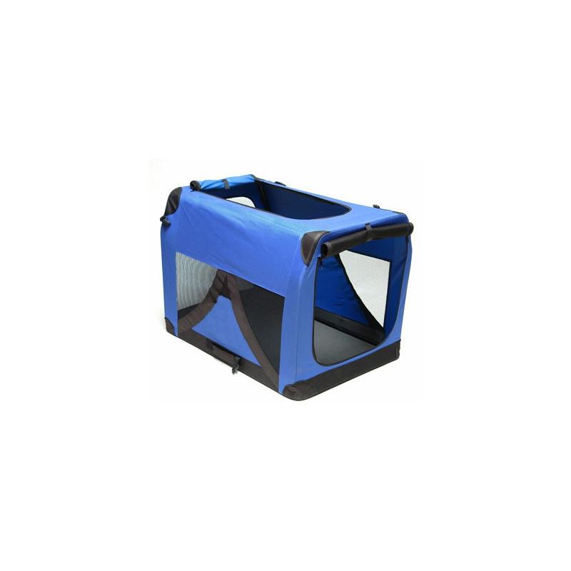 Skladací prepravný box pre psov a mačky XXL 91x63x63 cm modrý DEMA